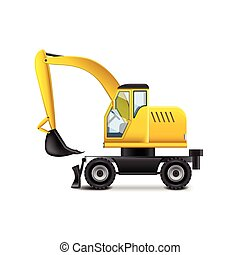 Excavator isolated on white vector - Excavator isolated on...