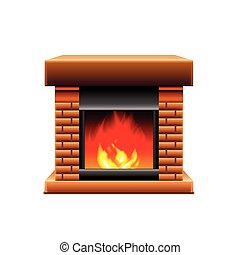 Fireplace isolated on white vector - Fireplace isolated on...