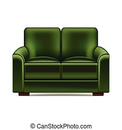 Green sofa isolated on white vector - Green sofa isolated on...