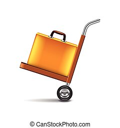 Luggage cart isolated on white vector - Luggage cart...