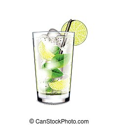 Mojito cocktail isolated on white vector - Mojito cocktail...