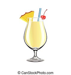 Pina colada cocktail isolated on white vector - Pina colada...