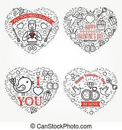Happy Valentines Day greetings card, labels, badges,...