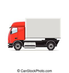 Red and white truck isolated vector