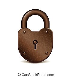Retro lock isolated on white vector