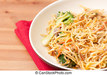 fried vegetable chow mein - crispy chinese food vegetarian...