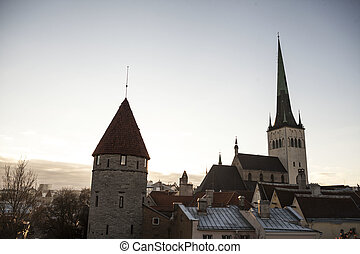 View of old Tallinn city, Estonia with the old dome...