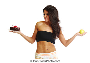 diet choice - woman choice diet apple or cake
