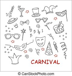 Hand drawn party, carnival set