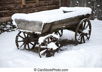 vieux, bois, charrette, dans, les, cour, paysan, estonien,...