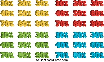 Collection of 4 colorful isolated sets of 3D percentage tags