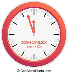 Isolated illustration of Doomsday clock (3 minutes to...
