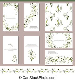 Floral spring templates with cute snowdrops Endless...