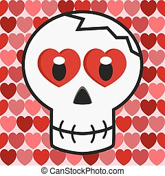 Valentine love skull - skull with hearts instead of eyes on...