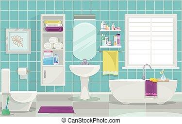Modern bathroom interior. Vector flat illustration
