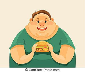 Fat man eating a big hamburger