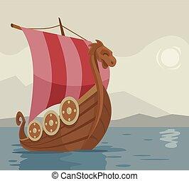 Viking ship Vector cartoon illustration