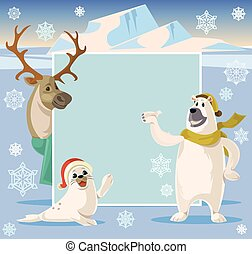 Arctic banner. Vector cartoon illustration