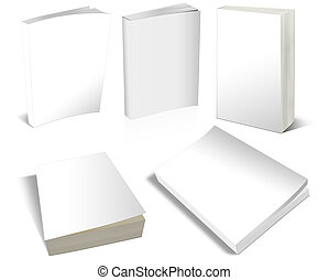 Blank Covers White Books 3-D - A set of blank white books in...