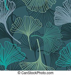 Ginkgo seamless pattern in soft colors - Ginkgo seamless...