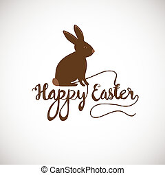 Brown Cute Chocolate bunny in grass. Vector easter...