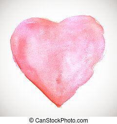 Watercolor painted soft pink heart, vector illustration for...