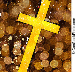 cross on abstract grunge background with scratches