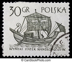 ancient Roman trade ship - POLAND, circa 1960 - ancient...