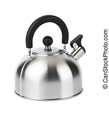 Stovetop whistling kettle isolated on white background