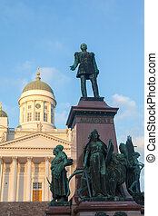 Monument to the Russian tsar Alexander II against the...