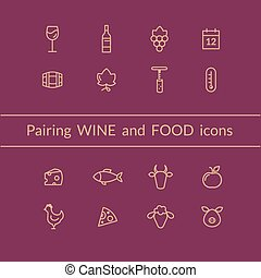 Wine and food pairing icons - Vector set of wine and food...