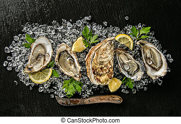 Oysters served on stone plate with ice drift, knife and...