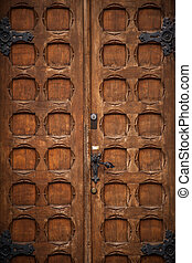 Old vintage brown door in victorian style