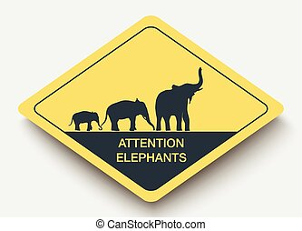 sign attention elephants and shadow - icon attention...