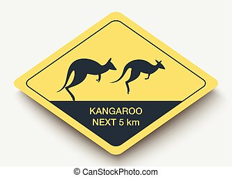 sign attention kangaroo and shadow. yellow a rhombus icon
