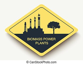 sign Biomass Power Plants and energy yellow a rhombus icon
