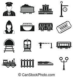 Railroad black simple icons set isolated on white background