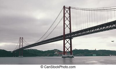 25 de Abril Bridge in Lisbon, cloudscape