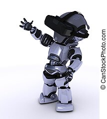 Robot with VR Head Set - 3D Render of a Robot with VR...