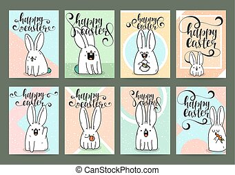 Set of ready designs for print Easter greeting card....