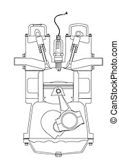 Outlind Drawing Petrol Engine - A four stroke petrol engine...