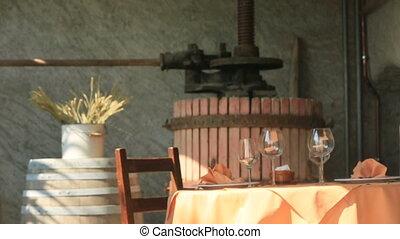 Table With Wine Glasses - Table with wine glasses on terrace...
