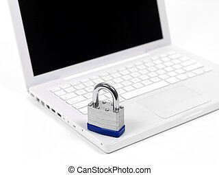 Computer Protection - A laptop computer and a padlock...