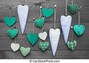 Turquoise Hearts For Valentines Daecoration, Black And White...