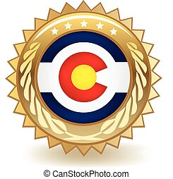 Colorado Badge - Gold badge with the flag of Colorado