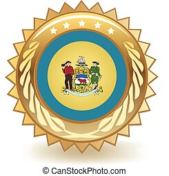 Delaware Badge - Gold badge with the flag of Delaware.