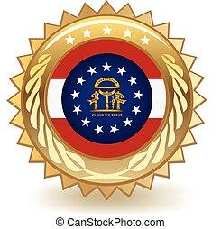 Georgia Badge - Gold badge with the flag of Georgia