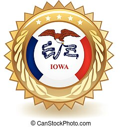 Iowa Badge - Gold badge with the flag of Iowa