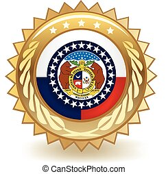 Missouri Badge - Gold badge with the flag of Missouri