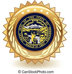 Nebraska Badge - Gold badge with the flag of Nebraska